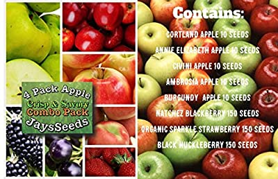 Bulk 4 Apple Seeds, Yellow Green Varieties 390+ Seeds UPC 788045382311 + 4 Free Plant Markers, Crisp & Savory