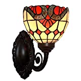 Bieye L10107 Baroque Tiffany Style Stained Glass Wall Sconces with 7 inches Handmade Shade (Red Baroque Single Uplight)