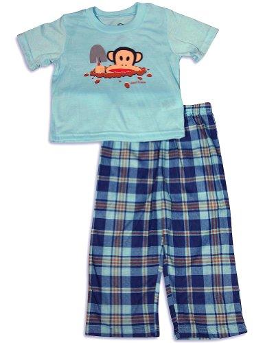 Paul Frank - Little Boys Short Sleeve Monkey Pajamas, Aqua, Navy 28831-4T