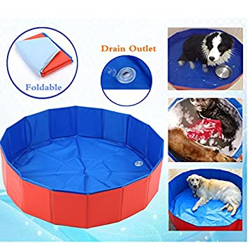 OWSTAR Nuevos Productos para Mascotas Super Gran PVC Plegable Piscina de Verano Perro Gato Cama de enfriamiento Baño Bañera para Todos los Gatos Perros m/L: ...