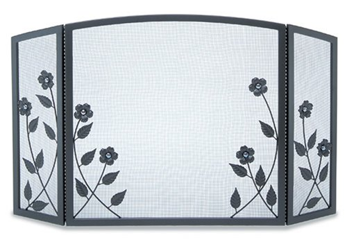 NAPA FORGE Pilgrim Home and Hearth 19228 Forged Floral Tri Panel Fireplace Screen, 46.5″W x 29″H, 23 lbs, - Fireplace Floral Screen