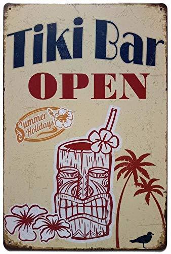 Vintage Tin Sign Replica The Tiki Hut is Open. Tropical Pool Patio Boat Bar Decor Tiki Decorations TSC175