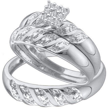 10k Gold Set - Men's Ladies 10K White Gold 0.09 Ct. Round Diamond Engagement Ring His & Her Bridal Trio Set
