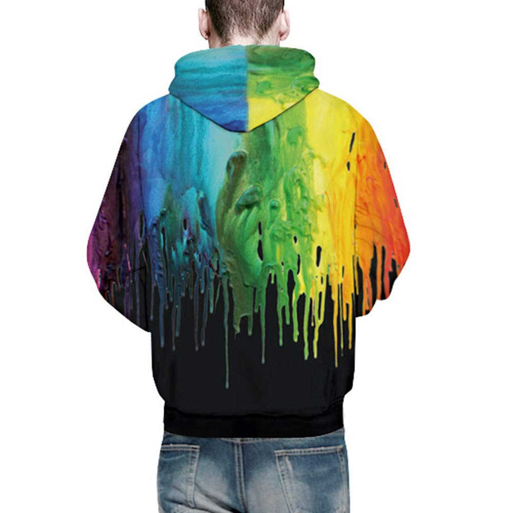 Ulanda Mens Novelty Hoodies Autumn Winter 3D Print Long Sleeve Front Pockets Hooded Sweatershirt Top Blouse