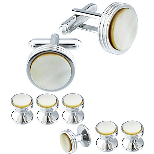 HAWSON Mens Cufflinks and Studs Set for Tuxedo Shirt Mother of Pearl Tuxedo Studs for Mens with a Gift - Set Pearl Gift Mother Of