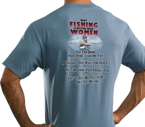 Big Dogs Men's Why Fishing Is Better Than Women T-Shirt Denim L
