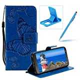 Strap Leather Case for Moto G6 Plus,Wallet Leather Case for Moto G6 Plus,Herzzer Premium Stylish Pretty 3D Blue Butterfly Printed Bookstyle Magnetic Full Body Soft Rubber Flip Portable Carrying Stand Case with Card Holder Slots