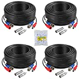 Security Camera Cable,ANNKE 100 Feet Pre-Made All-in-One AHD BNC RCA Plug Play Video Power Cable CCTV Security Camera with 2 Female Connectors for Security AHD Camera and DVR (Black 4-Pack)