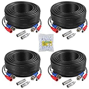 ANNKE 4 Pack 30M/100ft All-in-One Video Power Cables, BNC Extension Security Wire Cord for CCTV Surveillance DVR System… Surveillance Camera Cables