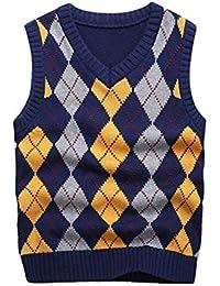 Boy's School Uniform V-Neck Sweater Vest Cable Front Color Block Plaid