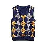 KID1234 Boy's School Uniform V-Neck Sweater Vest Cable Front Color Block Plaid
