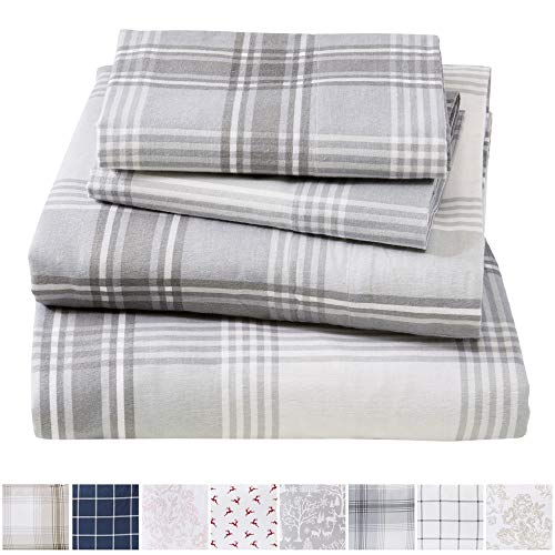 Sheet Fitted Plaid - Extra Soft Plaid 100% Turkish Cotton Flannel Sheet Set. Warm, Cozy, Lightweight, Luxury Winter Bed Sheets. Belle Collection (King, Plaid - Grey)