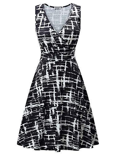 (GUBERRY Work Dresses for Women V Neck Sleeveless Wrap Summer Casual Sundresses)