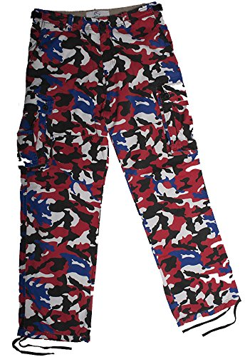 - CAMOsport Men's Cargo Pant - Twill Medium Red-White-Blue-Black