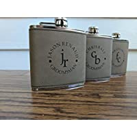 Light Brown Engraved Custom Groomsmen Flasks
