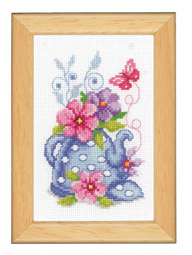 Vervaco Counted Cross Stitch Kit Blue Tea Pot & Flowers