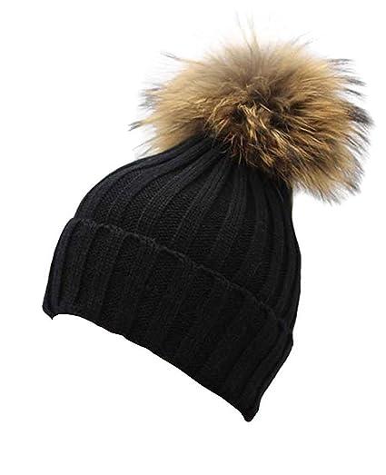 661654af0 Gellwhu Women Winter Real Fur Pom Pom Knit Slouchy Beanie Hat for Men Girls  Boys