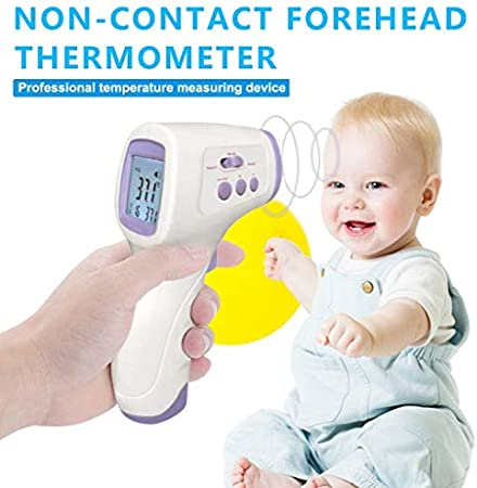 Harpily 𝙩𝙚𝙧𝙢𝙤́𝙢𝙚𝙩𝙧𝙤 De Frente, Digital con Sensor y Rápida 32 Lecturas de Memoria Infrarrojo Pantalla Temperatura médico para Frontal y oído,Laser precisa y rápida, Digital Adulto y niños