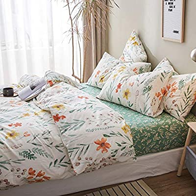 VClife Shabby-Chic Cotton Queen Floral Bedding Duvet Cover Sets Red Yellow Flowers Green Leaf Print On White Duvet Cover Sets, No Comforter - Elegant Teen Adult Blossom Bedding Set for Girl Women: Home & Kitchen