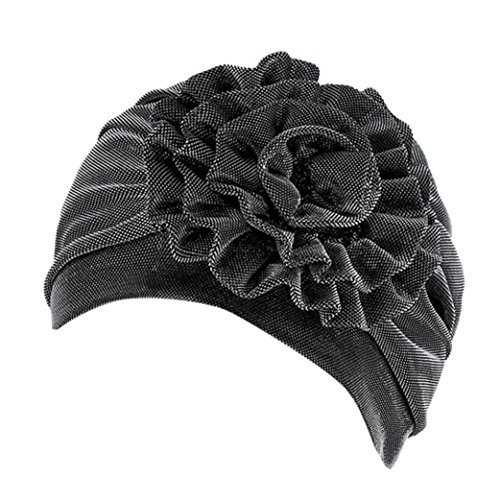 JPOQW Women's Turban Chemo Cap Monochrome Side Flower Headband Hat Muslim Headgear Lady Month Hat