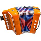 Paititi Kid's Accordion 7 Button 2 Bass Kid Music Instrument Easy to Play Musical Toy (Orange)