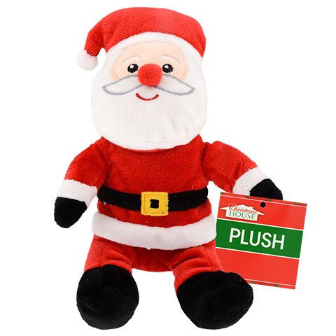 Christmas House Sitting Plush Santas, 10 in.