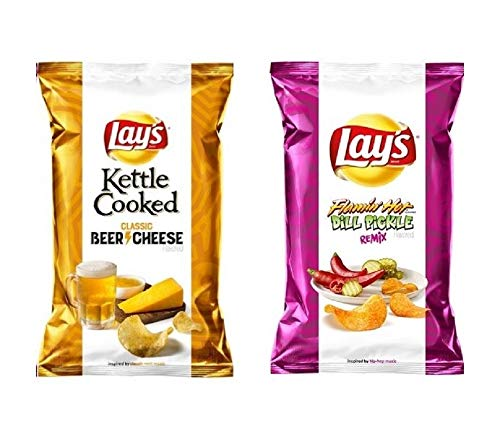 Lay's Turn Up The Flavor Limited Edition New 7 3/4 oz! Choose From 2 or 3 Pack, or Single Flamin' Hot Dill Pickle Remix, Beer & Cheese and Electric Lime & Sea Salt! (2 Pack Pickle & Beer)