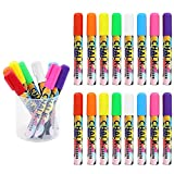 Liquid Chalk Markers, HIPPIH 8 Colors Non-Toxic Wet Erase Glass Window Markers, Kid's Drawing Chalks for Chalkboards, 16 Pcs