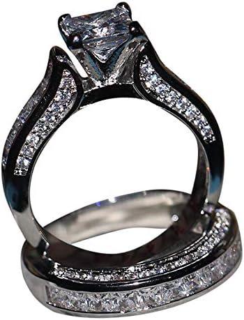 [해외]2019 New 2-in-1 Womens Vintage White Diamond Silver Engagement Wedding Band Ring Set Valentine`s Day Gifts for Girlfriend Boyfriend / 2019 New 2-in-1 Womens Vintage White Diamond Silver Engagement Wedding Band Ring Set Valentine`s ...