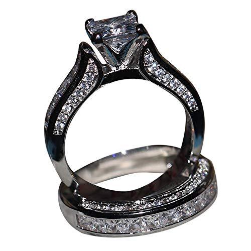 Price comparison product image Balakie Ring Set,  2Pcs Vintage White Cube Rhinestone Silver Engagement Wedding Band Jewelry (Silver, 9 )
