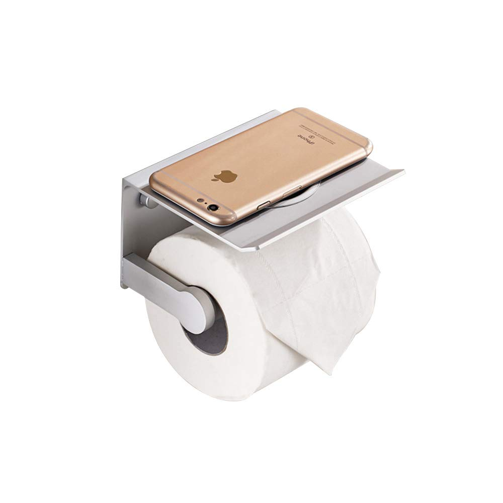 Wall Toilet Paper Holder Stand Storage SUS304 Stainless Steel Duty Drilling Bathroom Tissue Paper Roll Holder with Phone Storage Shelf(Silver)