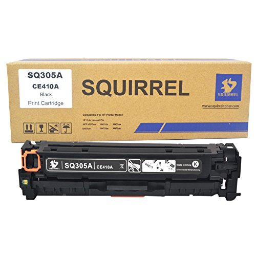 SQUIRREL 1 Pack 305A CE410A Black Toner Cartridge Replacement Compatible Remanufactured for HP LaserJet Pro 300 Color MFP M375nw,HP LaserJet Pro 400 Color M451dn,M451nw,M451dw,MFP M475dw/M475dn ()