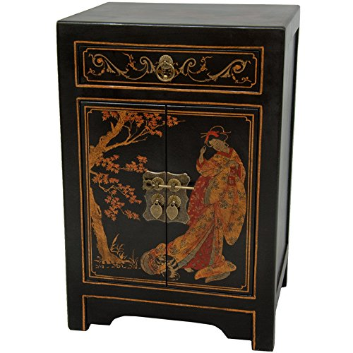 Brass Leaf Motif - Oriental Furniture Black Lacquer End Table Cabinet