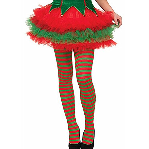 Clearance! Elf Tights Striped Red Green Christmas Fancy Dress Costume Knee Stockings ()