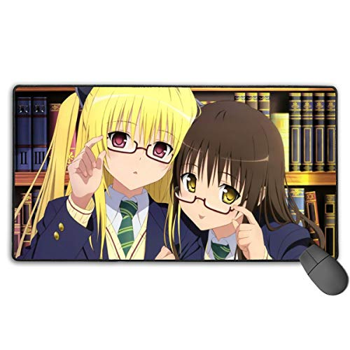 Portable Laptop Mac Mouse Pad with Stitched Edges, Long Big High-Performance Mouse Mat, to Love Ru Girls Yui Kotegawa Golden Darkness Glasses Fan Art DIY Gaming Mousepad for Teens School (Darkness Mousepad Golden)