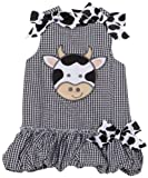 Mud Pie Baby Eieio Black and White Gingham Bubble Dress, Cow, 12   18 Months