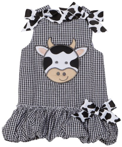 - Mud Pie Baby Eieio Black and White Gingham Bubble Dress, Cow, 12   18 Months