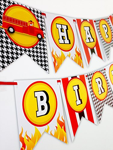 Fireman Party Happy Birthday Banner
