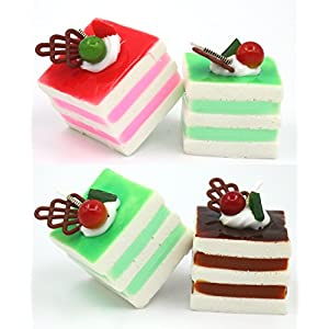 Nice purchase 6pcs Realistic Artificial Simulation Cake Assorted Faux Fake Food Model Home Kitchen Staging Party Toy Dessert Photography Props Home Decoration Display Square Cake 5