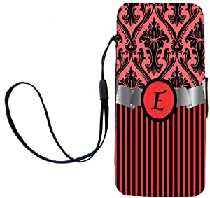 """Rikki Knight Letter """"E"""" Initial Damask and Stripes Monogrammed Flip Wallet Case for iPhone 5/5s - Non-Retail Packaging - Red"""