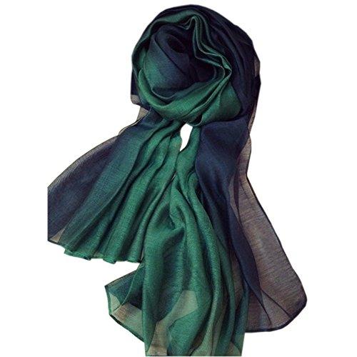 Unilove Summer Silk Scarf Gradient Color Long Lightweight Sunscreen Shawls for Women (Dark - Green Silk