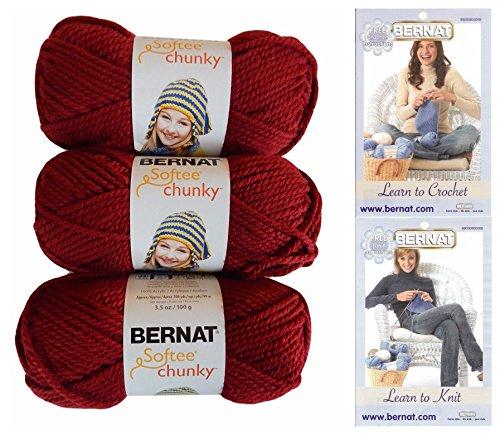 Bernat Softee Chunky Yarn Bundle Super Bulky #6, 3 Skeins, Wine