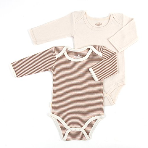 Tadpoles Organic Long Sleeve Pinstripe Bodysuits - Set of 2, Cocoa