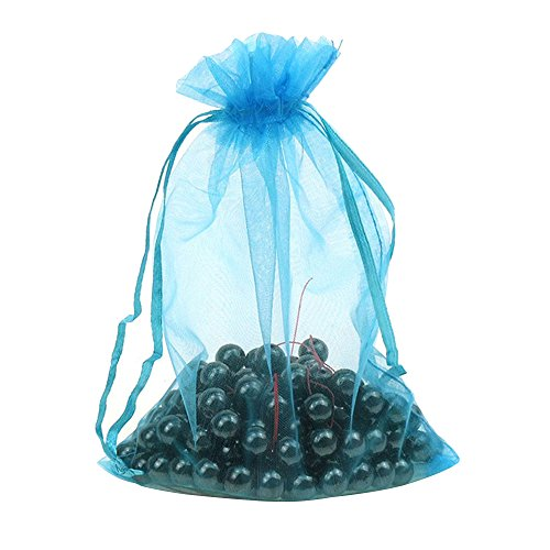 Kaimao 100 Pieces Organza Gift Bags Wedding Party Favor Bags Jewelry Pouches Candy Chocorate Pouch Wrap, 9 x 12 CM(Lake (Rustic Country Candle Wrap)