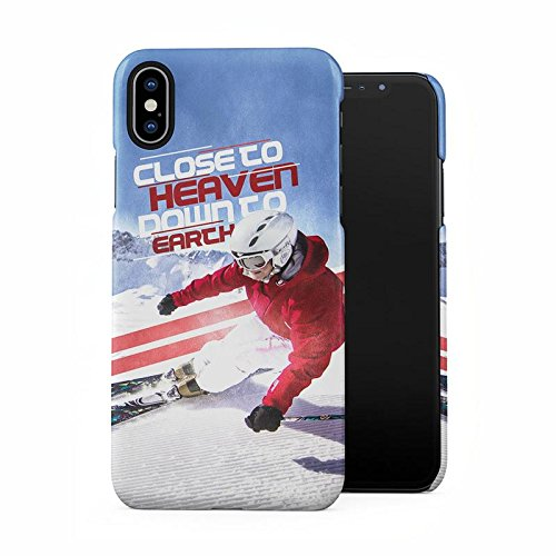 Xtreme Alpine Mountain Ski Close to Heaven Sport Quote Plastic Phone Snap On Back Case Cover Shell for iPhone X, iPhone Xs