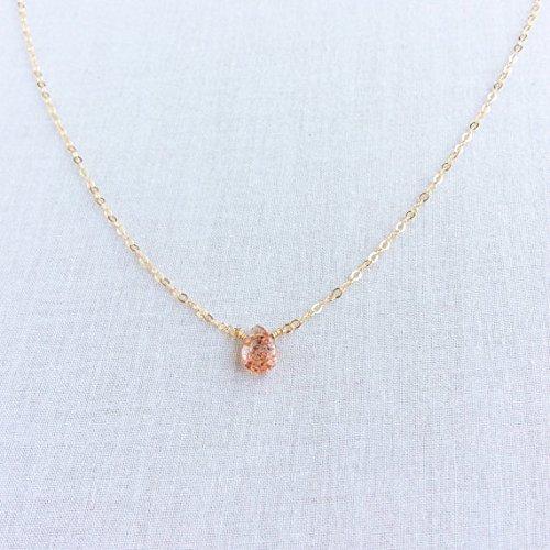 Oregon Sunstone Necklace, Sunstone Necklace, Oregon Sunstone Jewelry, Sunstone Jewellry, 14k Dainty Necklace, Oregon Necklace 9 mm by 7 mm