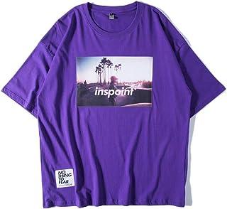 T-Shirt Short-Sleeved, Street Fat Big Size Loose Short-Sleeved T-Shirt Male Half-Sleeved Large Size Men's Clothing,XL