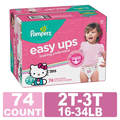 Pampers Easy Ups Pull On Disposable Training Diaper for Girls, 2T-3T, 74 Count, Super Pack