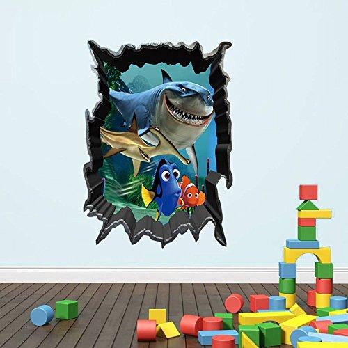 3D finding Nemo fish Shark Breaking through Wall Decals Sticker 18