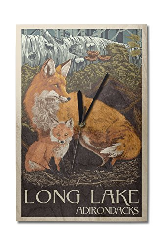 Long Lake, New York - The Adirondacks - Fox and Kit - Letterpress (10x15 Wood Wall Clock, Decor Ready to (Adirondack Cabin Kit)